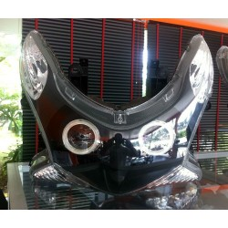 Headlight Unit Black Xenon 6000K Angel Eyes Honda PCX 125/150 v1 v2