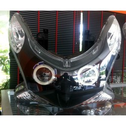 Headlight Unit Black Xenon 6000K Double Angel Eyes White Blue Honda PCX 125/150 v1 v2